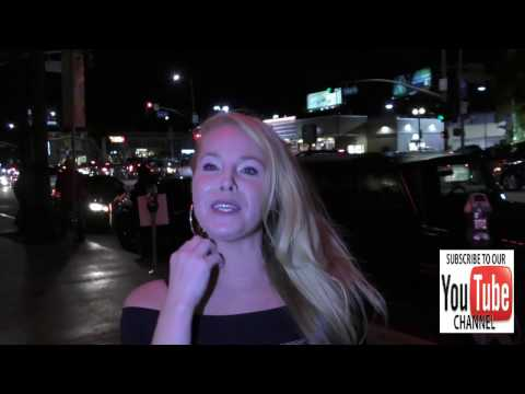 Tami Erin talks about being a vegan outside the ArcLight Theatre in Hollywood