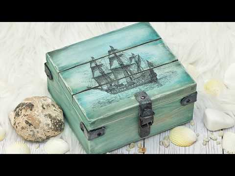 Decoupage wooden box for a boy  - tutorial ----- DIY By Catherine :)