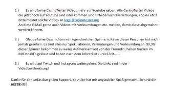 CasinoTester - Statement - Ich höre auf mit Youtube!