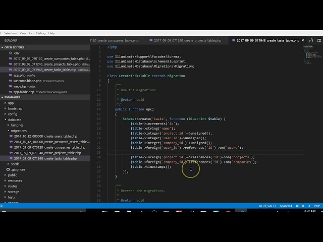 Laravel 5 5 tutorial   10   How to create projects migration