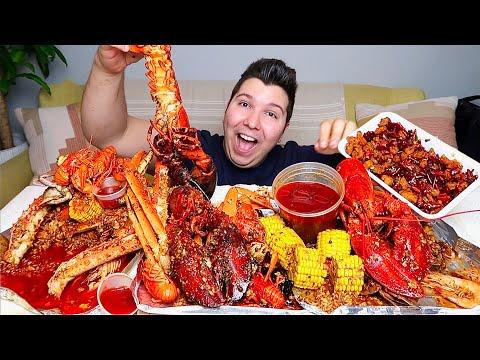 Massive $700 Seafood Boil • King Crab, Lobster, Crawfish, Shrimp, & Scallops • MUKBANG