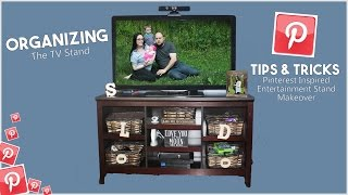 Organizing The TV Stand - Tips & Tricks - Our Pinterest Inspired Entertainment Stand Makeover