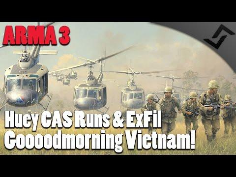ARMA 3 - Vietnam War - Huey CAS Runs & Huey ExFil - Unsung Vietnam War ARMA 3 Mod Gameplay