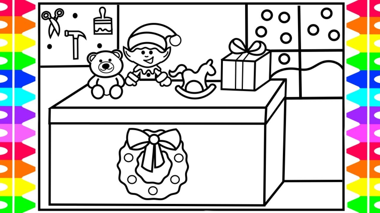 how to draw santas workshop cute christmas elf elf making toys santas workshop coloring page