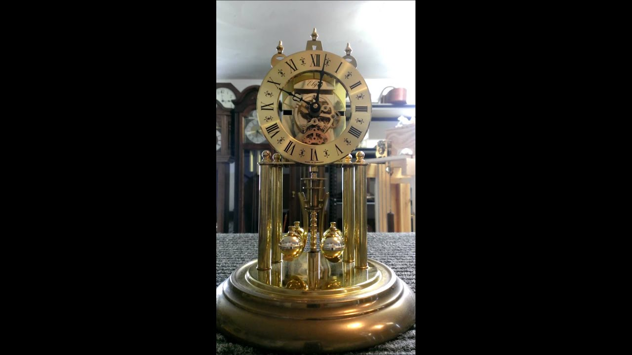 elgin sigfried haller skeleton anniversary clock germany c - Anniversary Clock