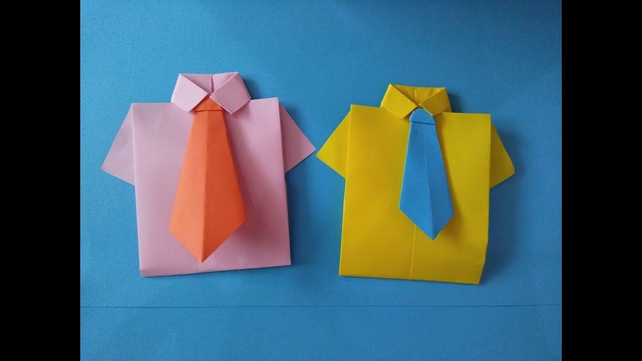 Как сделать рубашку открытку из бумаги с галстуком видео, красивых парней