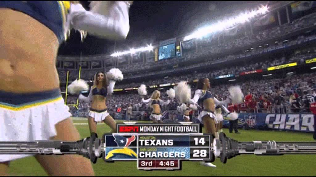 Chargers Cheerleader Gives Espn Cameraman Reverse Broncos