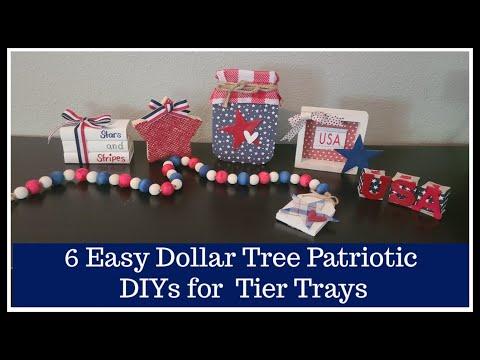6 Simple Dollar Tree DIY Decor | Patriotic Tier Tray | 4th Of July Home Decor