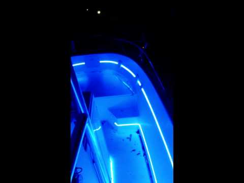 Blue led lights on 27 foot offshore boat