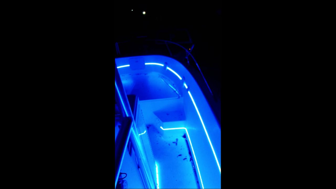 Blue led lights on 27 foot offshore boat