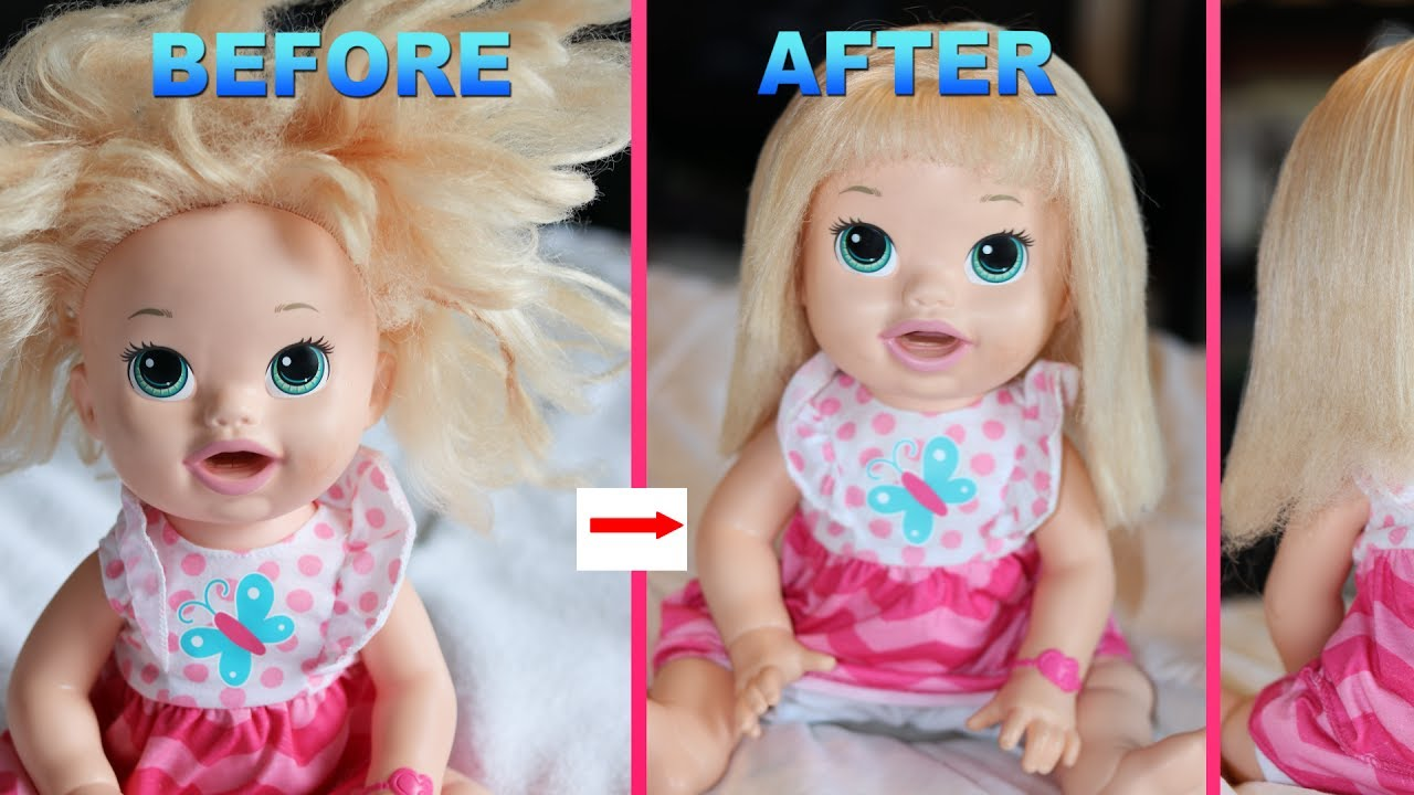 fix doll hair with fabric