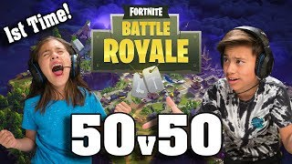 Gambar cover TEACHING MY SISTER HOW TO PLAY FORTNITE!!! 50v50 with JillianTubeHD!