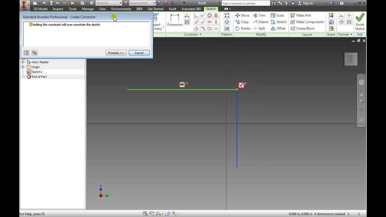 Autodesk Inventor 2014 Basic Geometric Constraints Part 3 Essentials  Tutorial