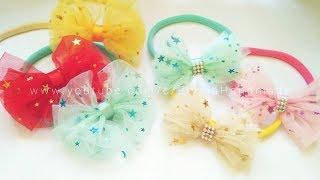 Headband Ideas : Cute Tulle Hairbow - Headband | DIY by Elysia Handmade