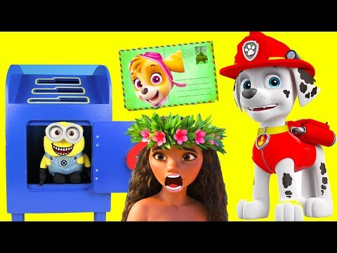Paw Patrol Marshall Mails Letter to Disney Moana and Chase | Ellie Sparkles