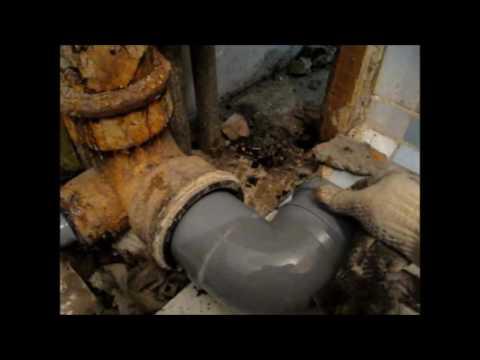 переход с чугунной на пластиковую трубу,нюансы и хитрости в замене сантехники,труб пвх и канализации