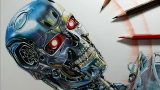 Drawing Terminator T800 - 3D Art - Speed Drawing - Time Lapse