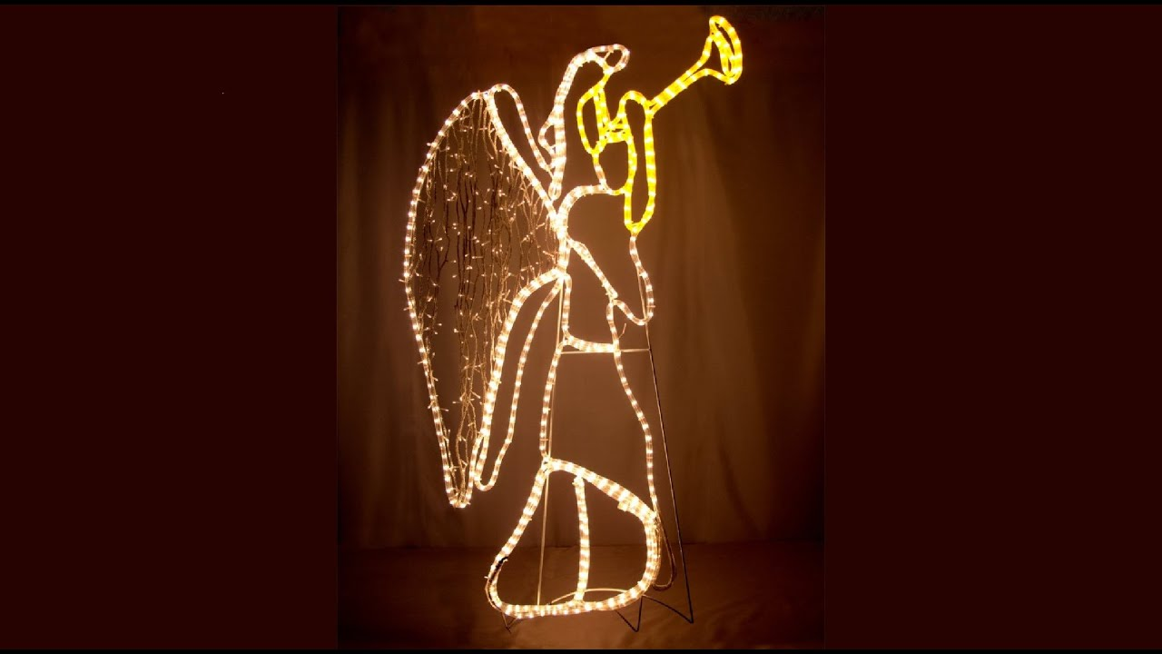 rope light silhouettes angel blowing trumpet 13m the christmas warehouse youtube