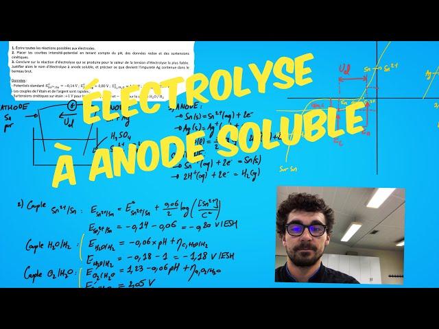 Exercice de cinétique électrochimique : Électrolyse à anode soluble