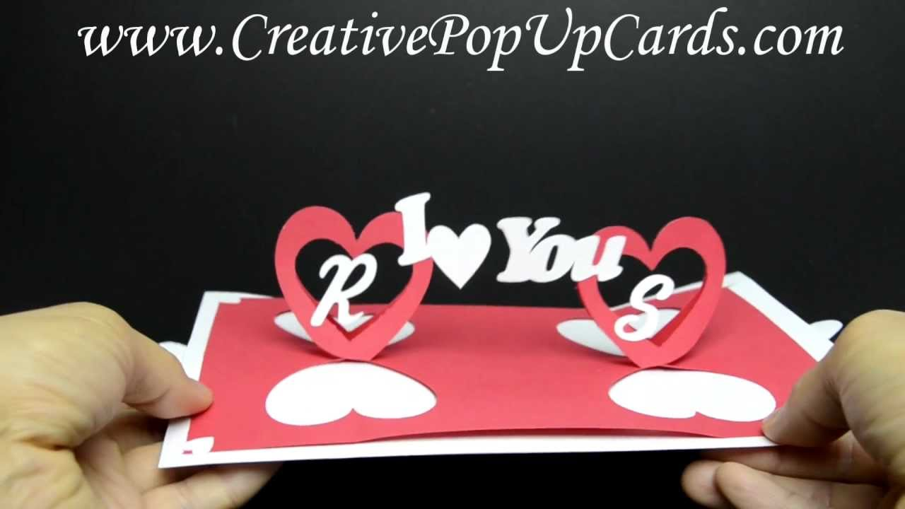 Valentines day Pop Up Card Twisting Hearts YouTube – Pop Up Valentines Day Card