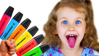 Erika aprende colores en inglés con rotuladores