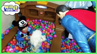 Kid and Dog Playing in GIANT BALL PIT with Darth Vader BATMAN Superman SURPRISE EGG - Willys Toys