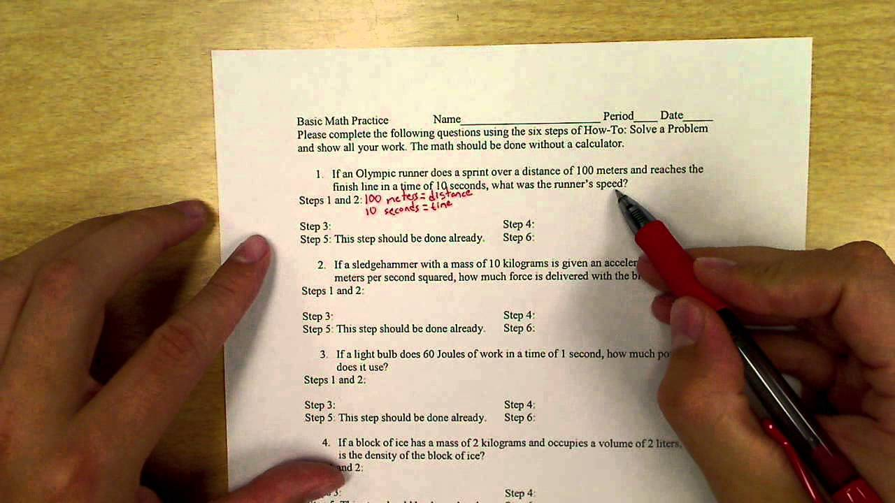 basic math practice physics word problems