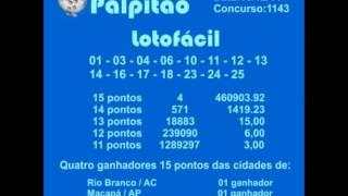 LOTOFACIL CONCURSO 1143  10122014