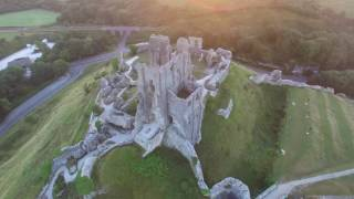 Corfe Castle drone footage 4k dorset uk