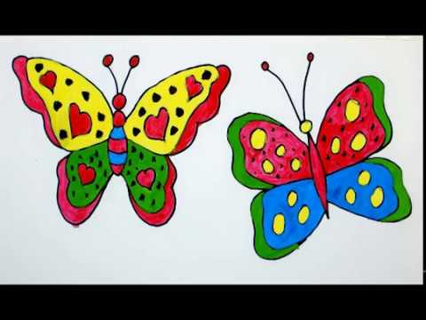 Color Butterfly Butterfly Drawing Color For Beginners Draw For Kids Color For Children Youtube