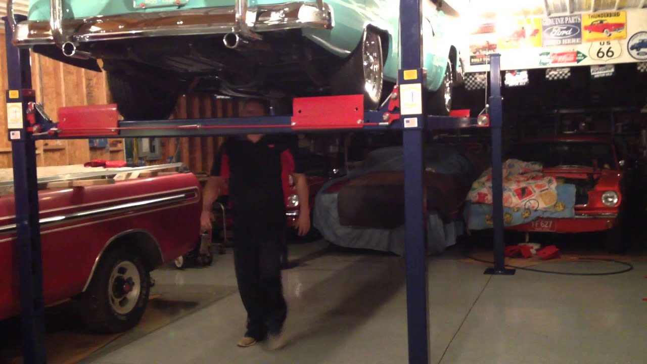 Backyard buddy car lift with 1955 crown victoria - YouTube