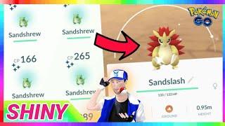 4x SHINY SANDSHREW CAUGHT + SHINY SANDSLASH EVOLUTION in Pokemon Go!