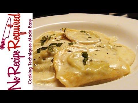 Ravioli with Gorgonzola Sauce – NoRecipeRequired.com