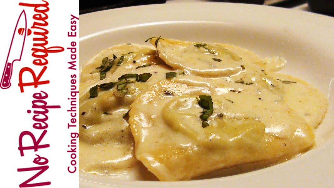 Ravioli With Gorgonzola Sauce Noreciperequired Com Youtube