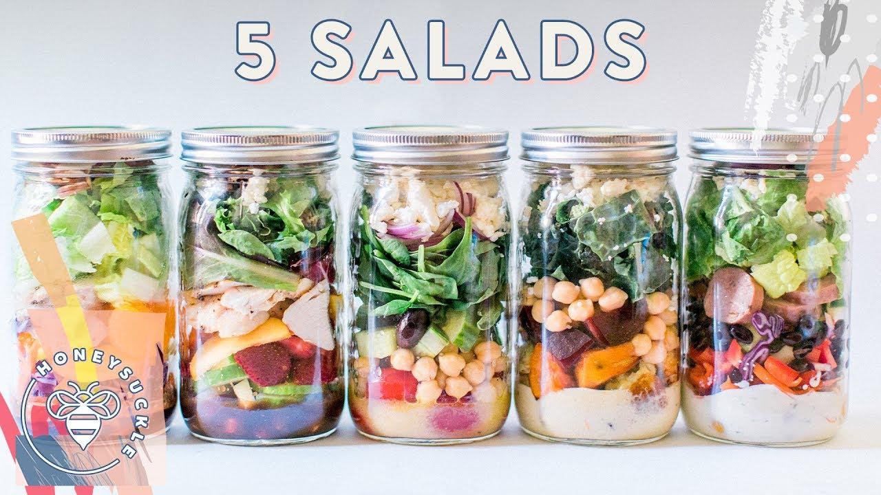 5 Mason Jar Salads Meal Prep For Buzybeez Youtube