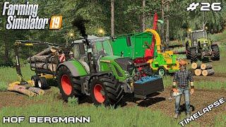 Cutting WOOD & making WOODCHIPS with @kedex world | Hof Bergmann | Farming Simulator 19 | Episode 26