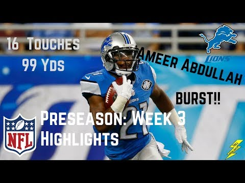 Ameer Abdullah Week 3 Preseason Highlights Burst | 8/25/2017