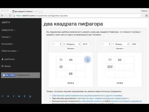 Квадраты Пифагора людей, рожденных после 2000-го года на ask314.com - ЦИФРОЛОГИЯ