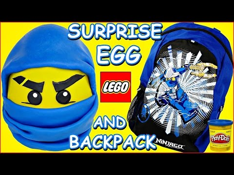 GIANT PLAY DOH SURPRISE EGG NINJAGO LEGO JAY Blue Ninja and Surprise Backpack
