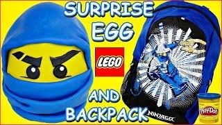 HUGE Jay Blue Ninjago LEGO Giant Play Doh Surprise Toy Egg + Back To School Surprise Backpack