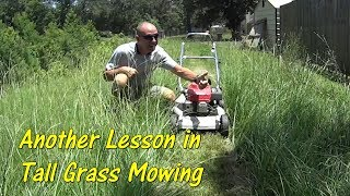 Pt 2 How To Cut Tall Grass with Basic Equipment - Overgrown Grass Mowing
