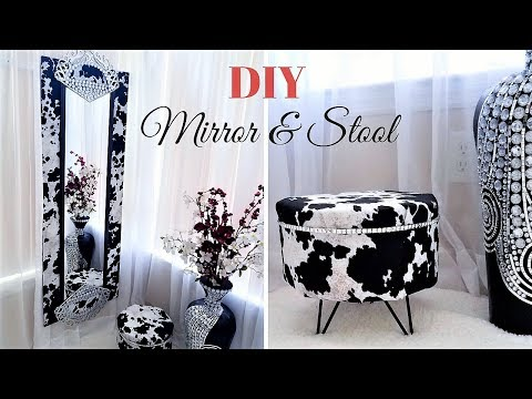 HOW TO DIY THE PERFECT MIRROR & STOOL SET FOR A POWDER ROOM| HOME DECORATING IDEA 2019