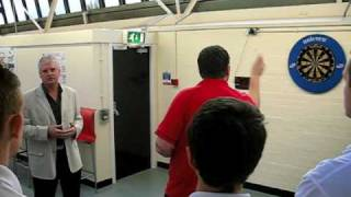 ADRIAN LEWIS AND ROD HARRINGTON OF PDC VISIT STOCKPORT COLLEGE DARTS ACADEMY