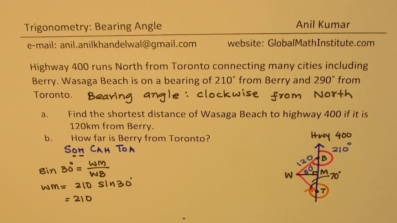 Bearing Angle Application For Distance Between Toronto And Berry