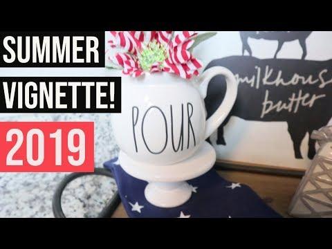 Summer Kitchen Vignette 2019 (by Denise Jordan) || FARMHOUSE Kitchen Decor || Rae Dunn decor