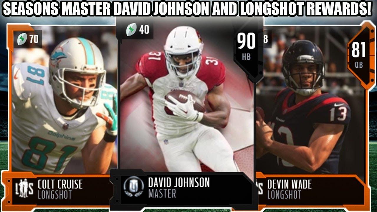 SEASONS MASTER DAVID JOHNSON AND ALL LONGSHOT PLAYER REWARDS! | MADDEN 19  ULTIMATE TEAM