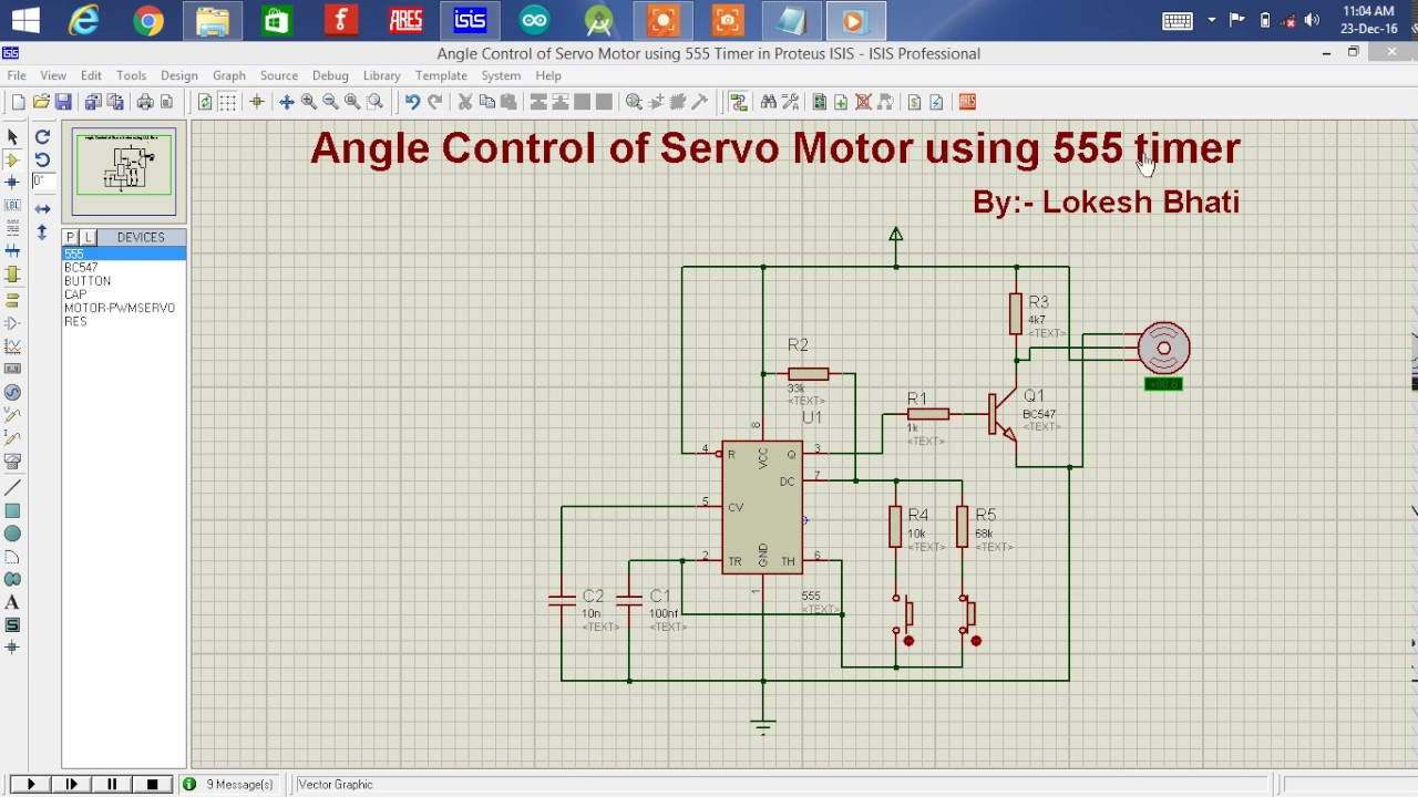 How to control the angle of servo motor using 555 timer ic for How to control servo motor