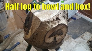 Woodturning half a log into bowl and lidded box!