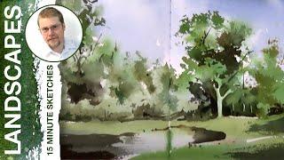 #84 Green Trees (Watercolor Landscape Tutorial)