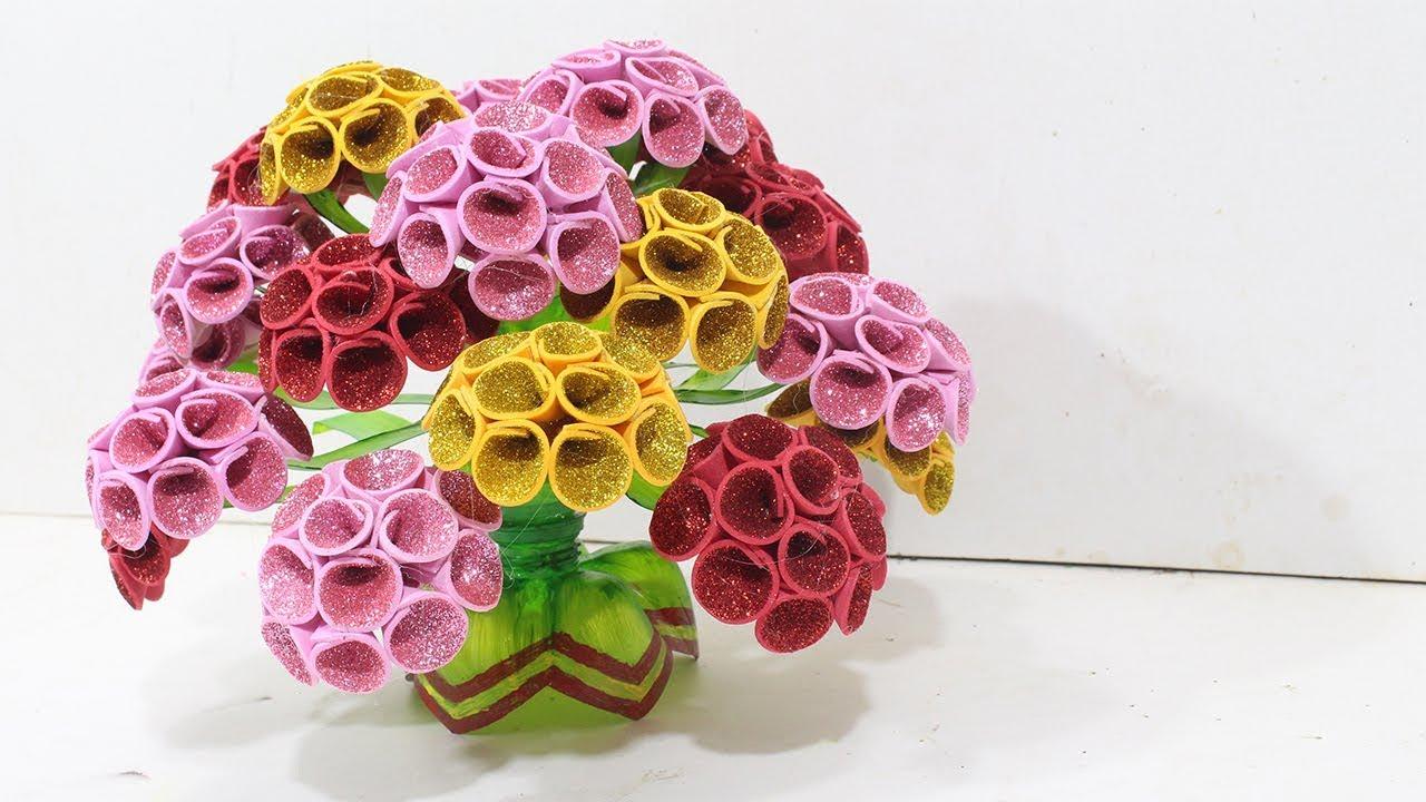 Empty plastic bottle vase making craft | New craft ideas for 2018